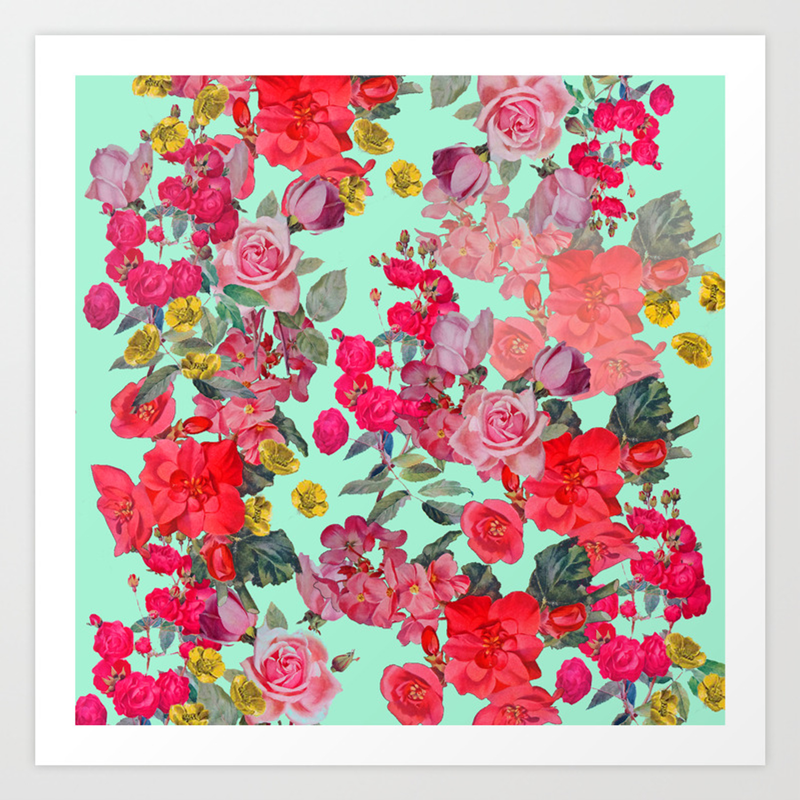 Antique Vintage Floral With Mint Green Seafoam Background Art