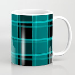 Strict strokes of light and light blue cells with bright stripes. Coffee Mug