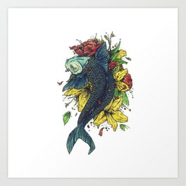 fish watercolor Art Print