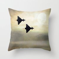 foo fighters Throw Pillows featuring Euro Fighters by Peaky40
