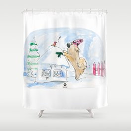 Winter Wonderland Tibbie in a Knitted Hat Enjoying the Snowy Day Shower Curtain