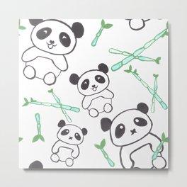 Cute Pandas and bamboos watercolor Metal Print