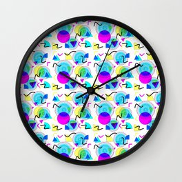 Bold Popping Colorful Retro Memphis Pattern Wall Clock