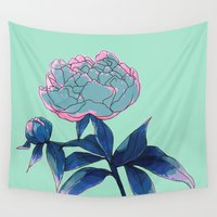 peony Wall Tapestries featuring Peony by Ludovic Jacqz