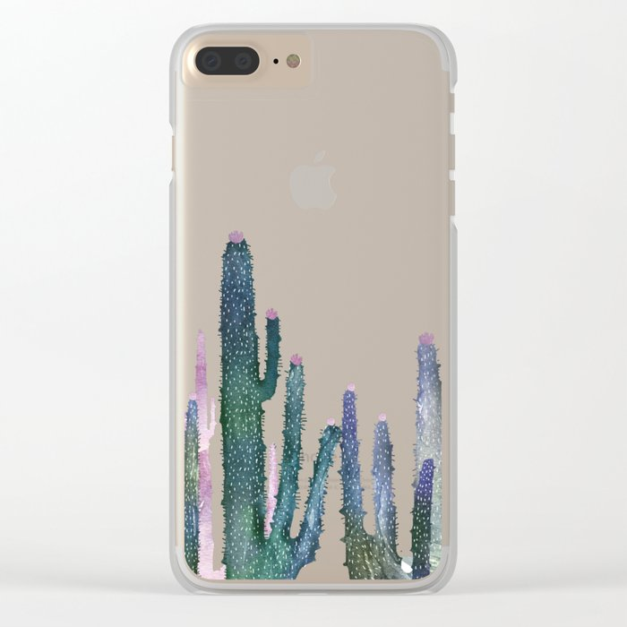 cactus water color Clear iPhone Case
