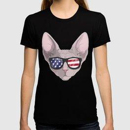 Patriotic  Sphynx Cat Kitty Merica American Flag T-shirt