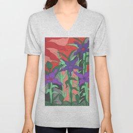 Twilight Sun Garden Floral Art Unisex V-Neck