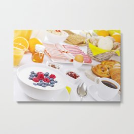 II - Table full with continental breakfast items, brightly lit Metal Print
