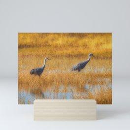 Sandhill Cranes in Fall Mini Art Print
