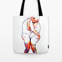 lovers Tote Bags featuring Lovers by Allegra Jones