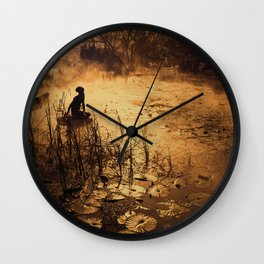 Silhouette on the lake Wall Clock
