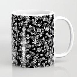 Festive Black and White Christmas Holiday Snowflakes Coffee Mug