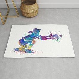 Girl Baseball Player Softball Catcher Colorful Watercolor Sports Artwork Rug