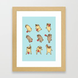Kettlebell workout with the pug Framed Art Print