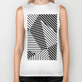 Abstract Striped Triangles Biker Tank