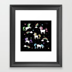 Unicorns and Rainbows - Black Framed Art Print