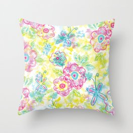 Watercolor spring pattern Throw Pillow