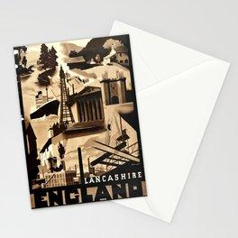 Vintage Placard England Lancashire Art Deco Ralph Mott Stationery Cards