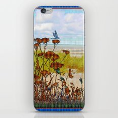 Plaid Beachscape with Dragonflies iPhone & iPod Skin