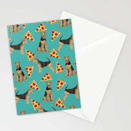 Airedale Terrier pizza pattern dog breed cute custom dog pattern gifts for dog lovers Stationery Cards