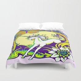 Unicorn Butterfly Woodland Landscape Duvet Cover