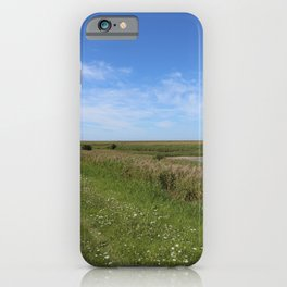 Blue Sky over green North Sea Island Pellworm iPhone Case