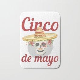 Cinco de Mayo Festivities Skeleton in Sombrero Mexican Independence Bath Mat