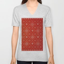 Orange Bohemian Atlas Moroccan Style Design Unisex V-Neck