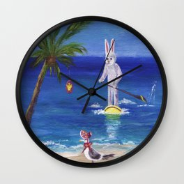 Easter Bunny at the Beach Wall Clock