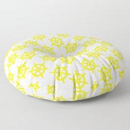 Ship Wheel (Yellow & White Pattern) Floor Pillow
