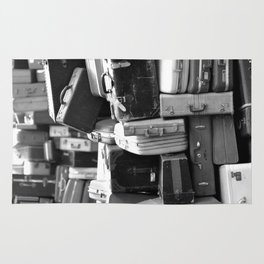 TOWER OF LUGGAGE in Black & White Rug