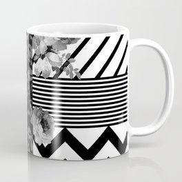 Trendy Black and White Floral Lace Stripes Chevron Coffee Mug
