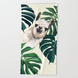 Sneaky Llama with Monstera Beach Towel