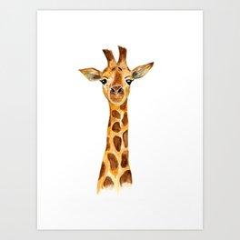 giraffe watercolor painting  Art Print