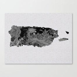 Black and White Art Puerto Rico Map Canvas Print