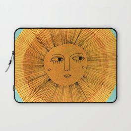 Sun Drawing - Gold and Blue Laptop Sleeve