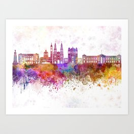 San Salvador skyline in watercolor background Art Print
