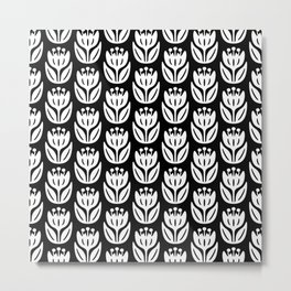 Mid Century Modern Flower Pattern Black and White 333 Metal Print
