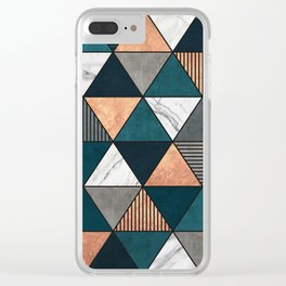 Copper, Marble and Concrete Triangles 2 with Blue Clear iPhone Case