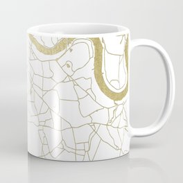 White on Yellow Gold London Street Map Coffee Mug