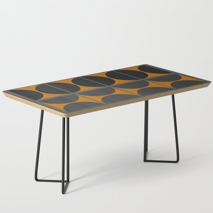 Black and Gray Gradient with Gold Squares and Half Circles Digital Illustration - Artwork Coffee Table