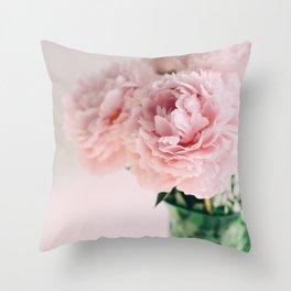 Blush Peonies Throw Pillow