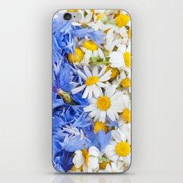 Blue cornflower and white chamomile iPhone Skin