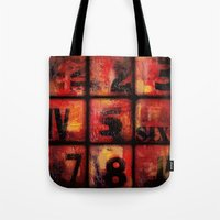 numbers Tote Bags featuring Numbers by Liz Moran