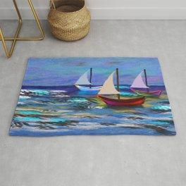 Seascape Boats Painting Impressionism Blue Ocean Art Rug