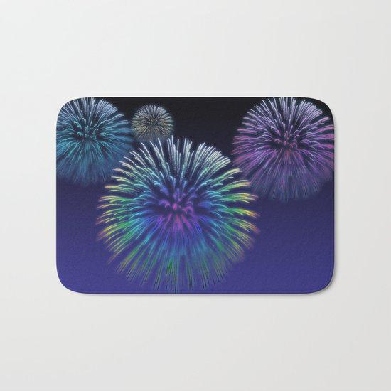 Colorful Fireworks Bath Mat