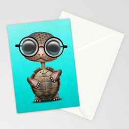 Cute Nerdy Turtle Wearing Glasses Stationery Cards