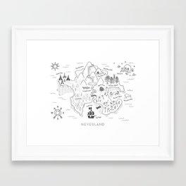 Neverland Map - B&W Framed Art Print