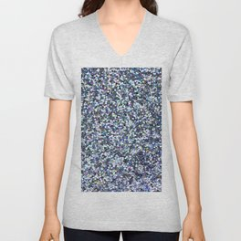 Blue Glittering Sequins Unisex V-Neck
