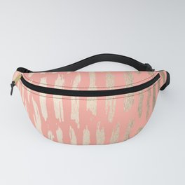 Vertical Dash Tahitian Gold on Coral Pink Stripes Fanny Pack